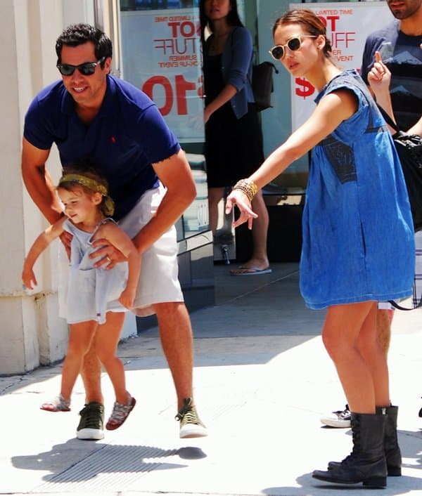 Jessica Alba with husband Cash Warren and daughter Honor Marie out in Beverly Hills on June 5, 2010