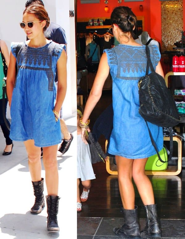 Jessica Alba wore her Isabel Marant denim dress for a quick stop at the Cheesecake Factory in Beverly Hills
