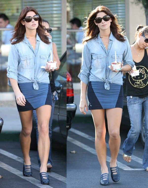 Ashley Greene followed the number one rule of doing denim on denim