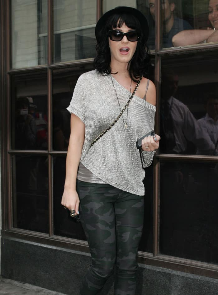 Katy Perry confidently took on her media promotion duties for California Gurls in London in her J Brand camouflage leggings