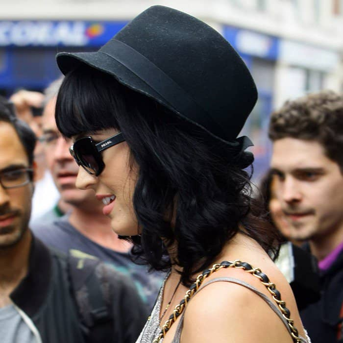 Katy Perry wearing a black fedora at the Radio One studios in London on June 24, 2010