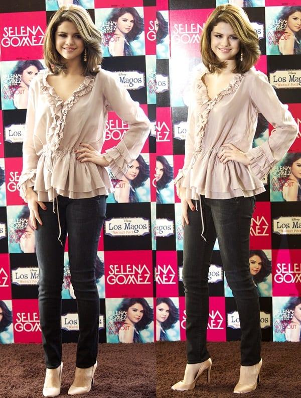 Selena Gomez rocks distressed black skinny jeans from Hudson