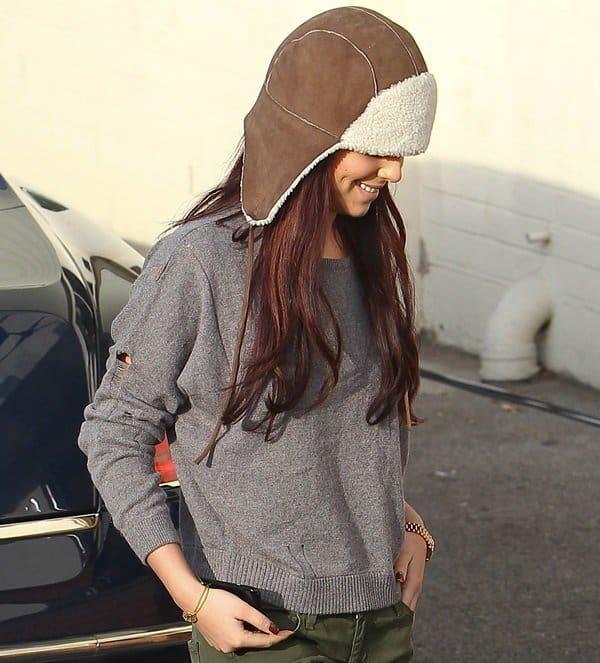 Cheryl Cole wearing Rag & Bone shearling-lined trapper hat