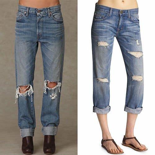 Levi's LVC 505 Straight Leg and Current and Elliott The Boyfriend Jeans