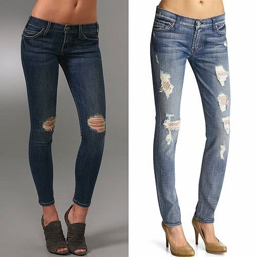 Current/Elliott The Crop Skinny Jeans and 7 For All Mankind Gwenevere with White Fishnet Back