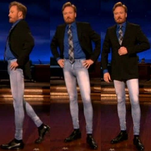 Conan O' Brien in jeggings on the December 2, 2010 episode of the Conan show