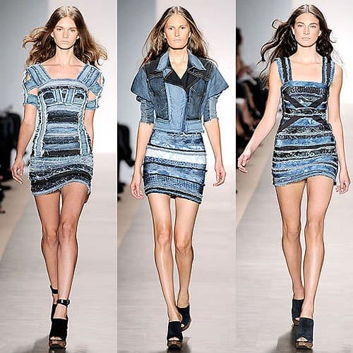 Denim dresses from the Herve Leger Spring 2010 RTW collection