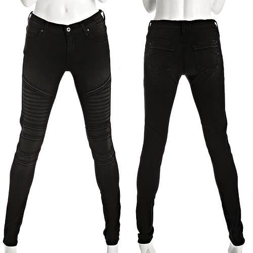 James Jeans Moto Skinny Jeans in Black Out