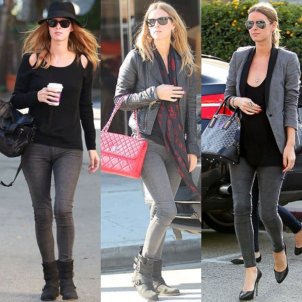 Nicky Hilton wearing all-black with her faded black jeans
