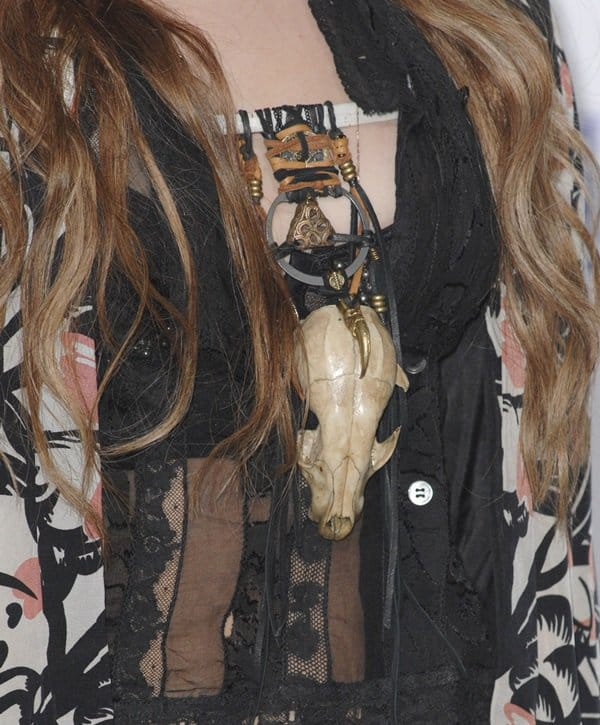 Miley Cyrus' jacket is from Nicole Richie's spring 2011 collection