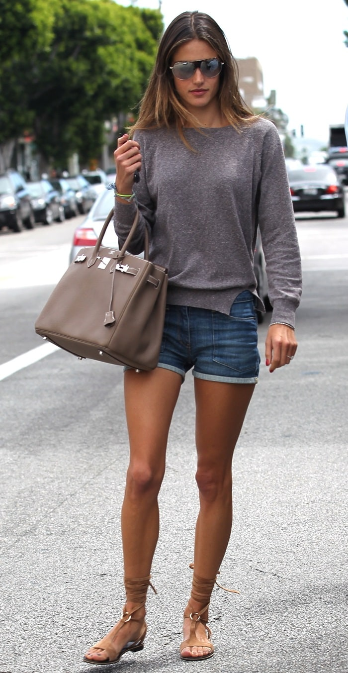 Alessandra Ambrosio's leg-lengthening denim shorts