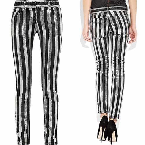Balmain's faded-black rigid-denim jeans are embellished with silver sequined stripes