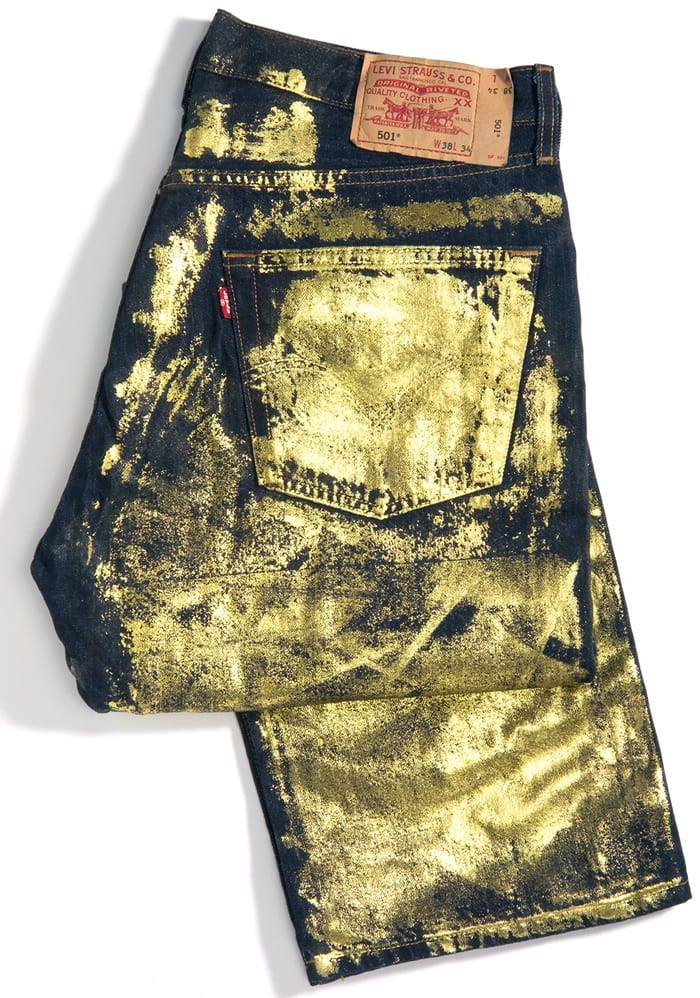These vintage 501 jeans covered in gold leaf were made for the Levi Strauss 150th anniversary