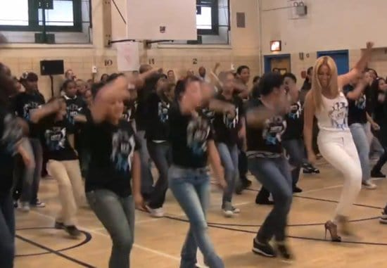 Beyonce dancing with the students of the PS 161 Pedro Albizu Campos middle school in Harlem, New York on May 3, 2011