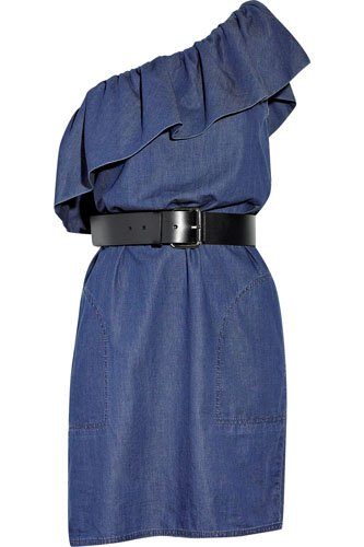 Moschino Cheap and Chic Belted Denim One-Shoulder Dress