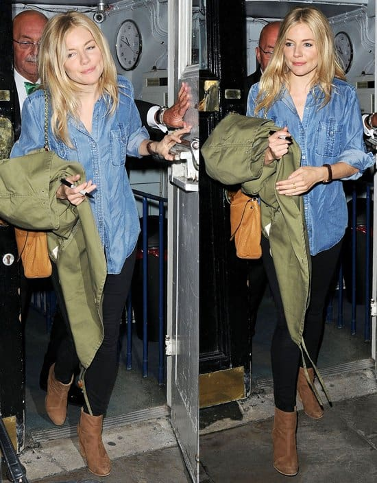 Sienna Miller at the exit after another performance in 'Flare Path' at the Theatre Royal Haymarket in London, England on May 18, 2011