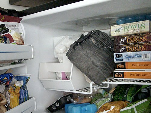 Jeans in the freezer -- bacteria-killing technique?