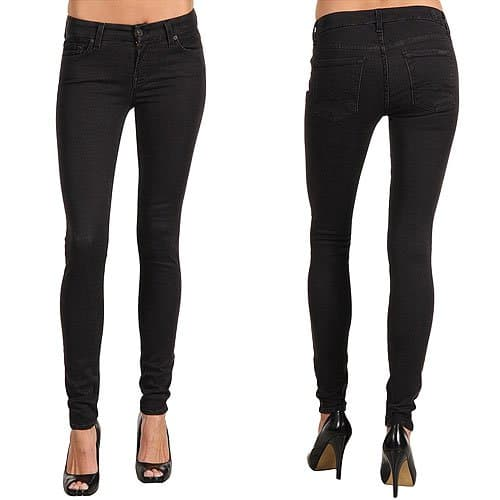 7 For All Mankind Gwenevere Super Skinny Gummy Denim in Black