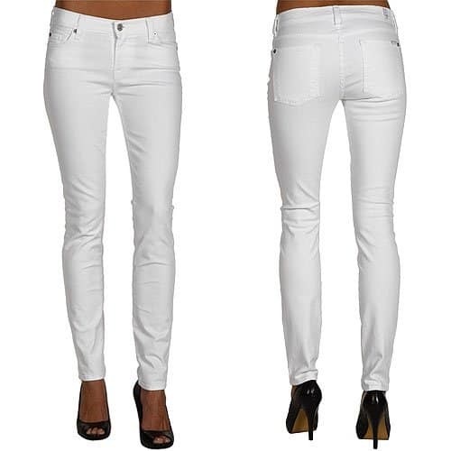 7 For All Mankind The Skinny Second Skin Legging Jeans in Clean White