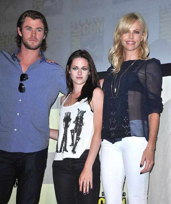 Charlize Theron and Kristen Stewart wearing7 For All Mankind jeans