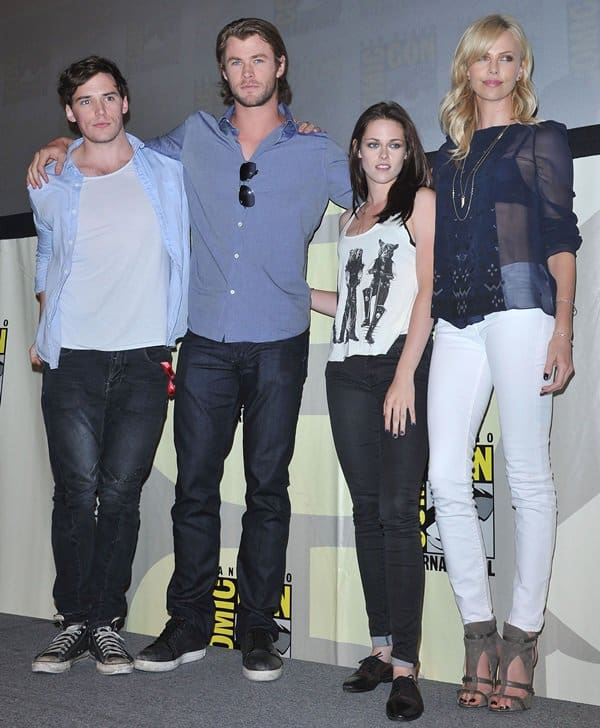 Chris Hemsworth, Charlize Theron, Kristen Stewart, and Sam Claflin at the Snow White and the Huntsman panel discussion held at Comic-Con 2011 in San Diego, California on July 23, 2011