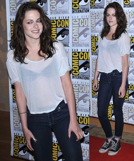 Kristen Stewart at the 'The Twilight Saga: Breaking Dawn - Part 1 Comic-Con Fan Meet and Greet' and press conference held in San Diego, California on July 21, 2011