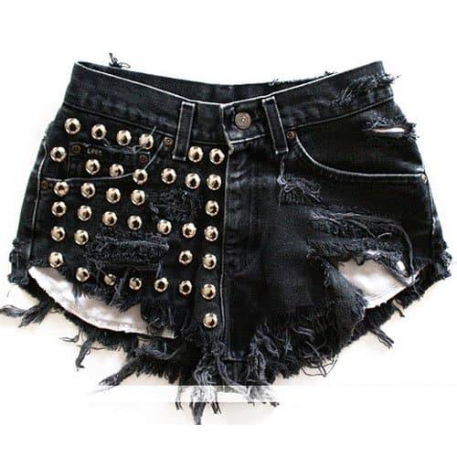 Runwaydreamz 588 Vintage Black Studded Short