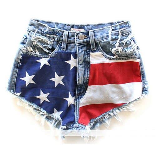Runwaydreamz Vintage American Flag Short