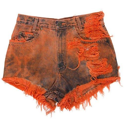 Runwaydreamz Vintage Frayed Short in Orange Tie Dye