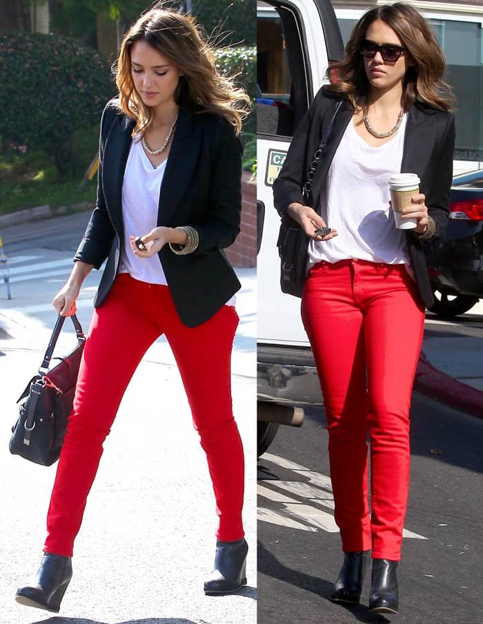 "Jessica Alba wearing spicy red Kate Spade New York ""Broome Street"" jeans"