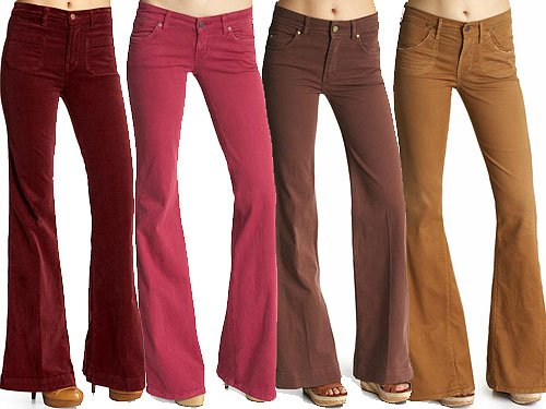 Spicy-colored bell bottoms and flared jeans