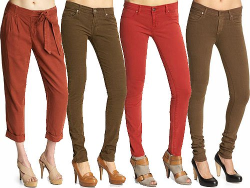 Spicy-colored women's jeans