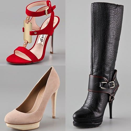High heel sandals, pumps and boots