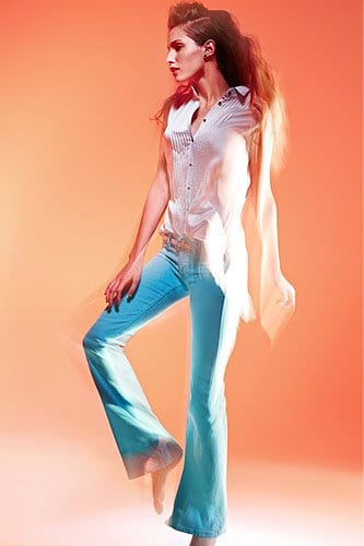 TEXTILE Elizabeth and James Jimi Flare Jeans in Aqua Glass
