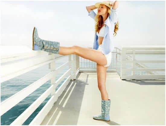 Model wearing UGG Australia blue denim boots for women