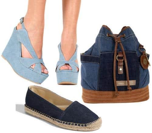 Denim wedge sandals, flats, and backpack