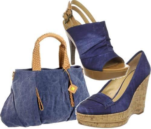 Denim wedge pumps, sandals, and handbag