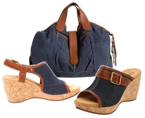 Denim shoes and tote handbag for women