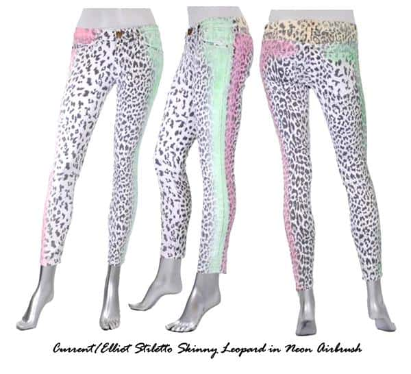 The Current/Elliot leopard-print jeans in neon airbrush