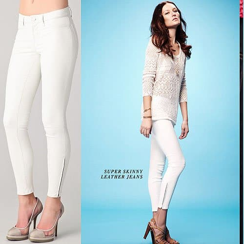 J Brand Super Skinny Leather Pants in White