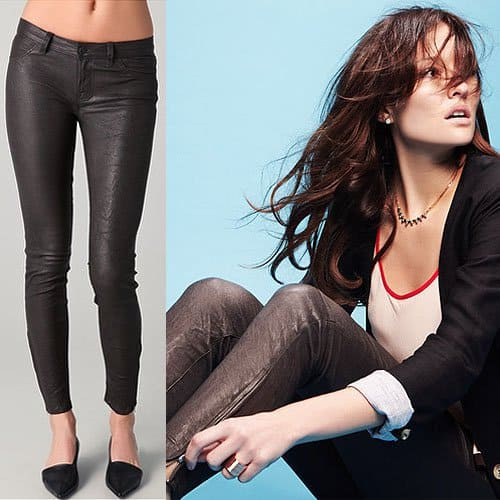 J Brand Super Skinny Leather Pants in Gray