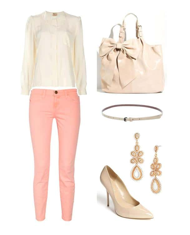 Jeans with vintage shirt, handbag, pumps and jewelry