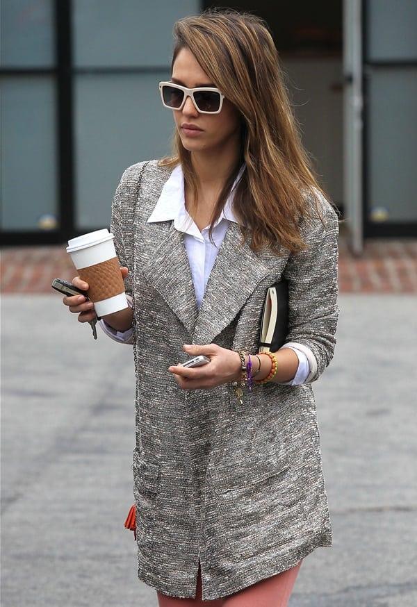 Jessica Alba wears Joe's Jeans Erica long jacket and white-framed retro sunglasses