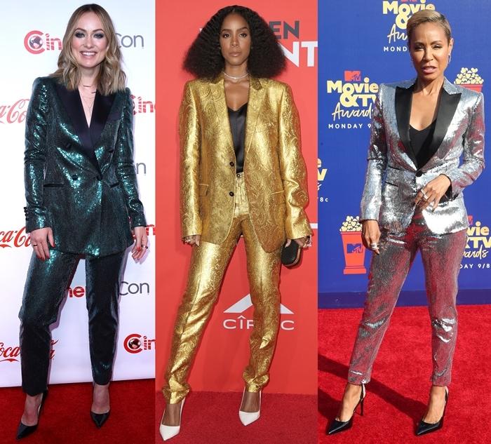 Olivia Wilde, Kelly Rowland, and Jada Pinkett Smith wearing metallic pants