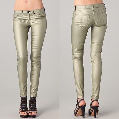 Rag & Bone Metallic Legging Jeans in Champagne Metallic