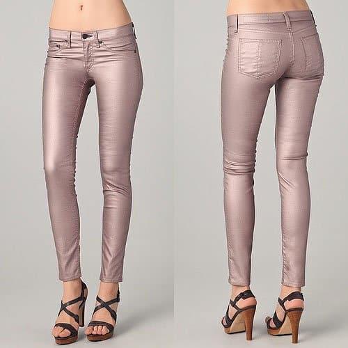 Rag & Bone Metallic Legging Jeans in Rose Metallic