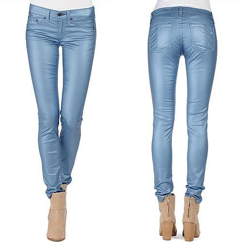 Rag & Bone Metallic Jeans in Sky Metallic Blue