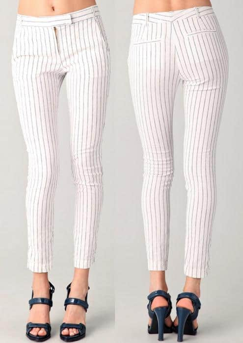 Lightweight cotton-linen pants are designed in a fresh ankle length and patterned with visually slimming stripes