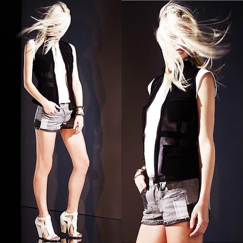 J Brand leather trim denim shorts