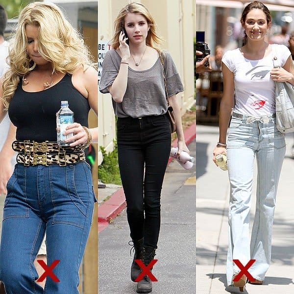 DON'T: paunch-creating, waist-hiding, and curve-flattening high-waisted jeans